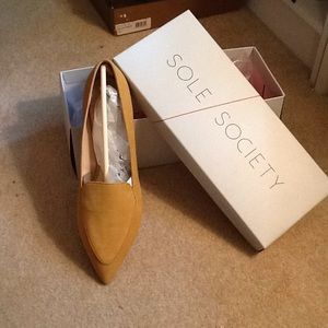 Gold suede SOLE SOCIETY flats -- NEW IN BOX